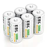 EBL 5000mAh C Size Rechargeable Batteries Industrial Battery C Batteries, 6 Packs Ni-MH