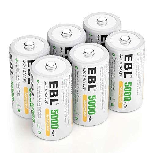 EBL Baby C Akku 5000 mAh - Typ NI-MH wiederaufladbar C Batterien mit Aufbewahrungsbox, Typ C Akku 6 Stücke