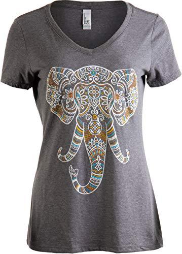 Elephant Aesthetic | Ornate Stylized Line Art Yoga V-Neck T-Shirt for Women-(Vneck,L)