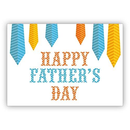 Chique Vaderdagkaart voor Pappi/Vati/Vater met stropdas: Happy fathers day. • mooie groet vouwkaart met envelop binnen blanco voor lieve woorden 4 Grußkarten