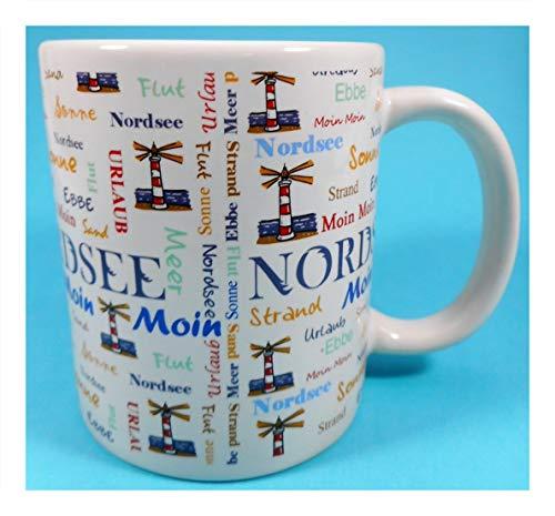 Nordsee Tasse 10 x 8 cm Moin Sonne Flut Ebbe Strand Urlaub See Kaffee Becher Deko 3700