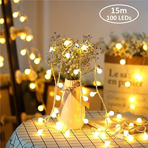 Zorela Globe String Lights, 15M 100 LED Fairy Lights with Remote, Outdoor Indoor Festoon Lights USB or Battery Powered for Christmas, Holiday, Rooms, Patio, Gazebo and Wedding Decor - Warm White