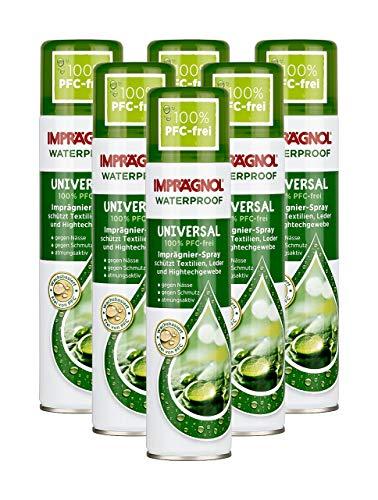 Imprägnol Waterproof Universal 100{ece3ef46d06d3cde6a5037bc935a0c5f8fc66ed8e32fdf36eda6a526d195ab35} PFC-frei: Imprägnier-Spray geeignet für Textilien, Leder und Hightechgewebe, 400 ml, 6er Pack