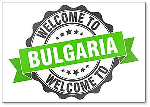 Imán para nevera con diseño de sello redondo con texto en inglés «Welcome to Bulgaria».