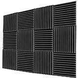 Lestaven 12ピース 吸音材 吸音材質ポリウレタン 消音 騒音 防音 吸音対策 室内装飾 楽器 ピアノ室 (12個 - 300 x 300 x 50 mm, 黒)
