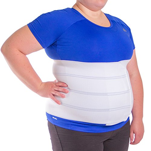 BraceAbility Plus Size Bariatric Abdominal Stomach Binder - XXL Belly Support Band, Big Mens or Womens Obesity Girdle Belt, After Surgery Recovery Wrap, Tummy Waist Compression Hernia Treatment (2XL)