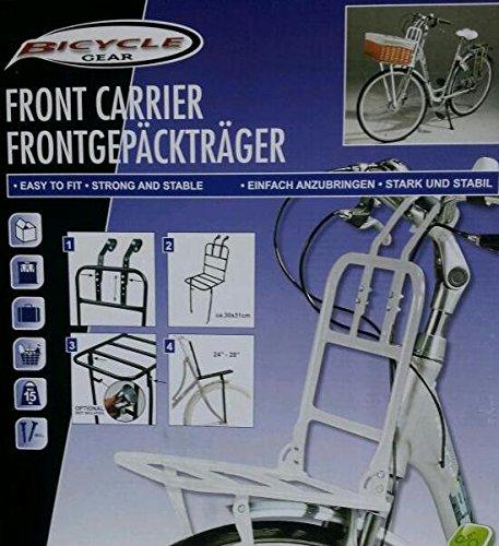 wohnen-freizeit Front-Gepäckträger in weiss für Fahrräder mit 24' bis 28' Radgröße, Montage vorne