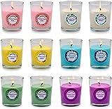 Arosky 12 Stück Duftkerzen Set Kleine Sojawachskerzen Großpackung mit 6 Düften – Rose, Zitrone, Lavendel, Vanille, Jasmin und Frühling.