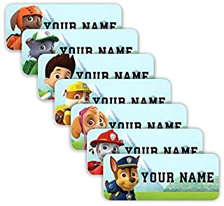 PAW Patrol Theme Original Personalized Peel and Stick Waterproof Custom Name Tag Labels for Adults, Kids, Toddlers, and Ba...