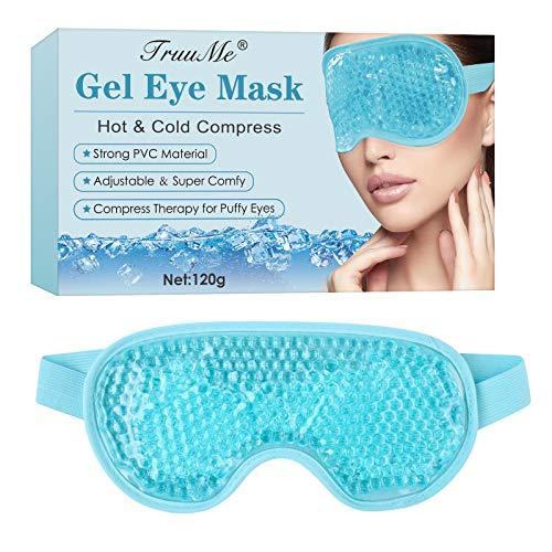 Masque Yeux Froid, Gel Eye Mask, Masque Des Yeux, Réutilisable Poche de Glac, pour gonflées, yeux gonflés, cernes, maux de tête, Thérapie Froid Chaud