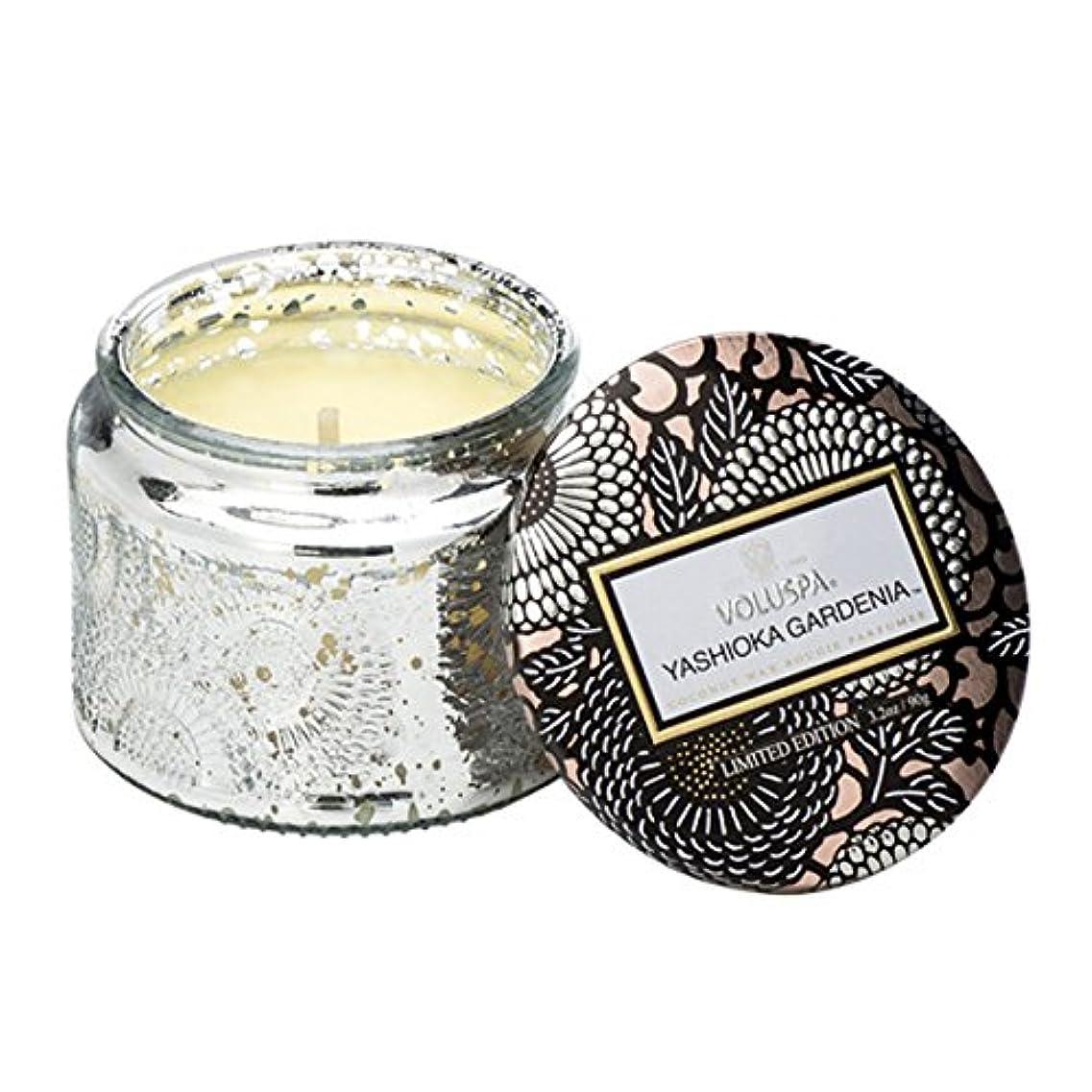 ゴールド終わり謝罪Voluspa ボルスパ ジャポニカ リミテッド グラスジャーキャンドル  S ヤシオカガーデニア YASHIOKA GARDENIA JAPONICA Limited PETITE EMBOSSED Glass jar candle