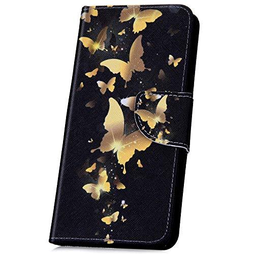 Surakey Coque Sony Xperia L1 étui à Rabat en Cuir, Créatif Dragonne Rétro Motif Cuir PU Portefeuille Housse Etui Folio Flip Case Cover Wallet Coque pour Sony Xperia L1 (Papillon Or)