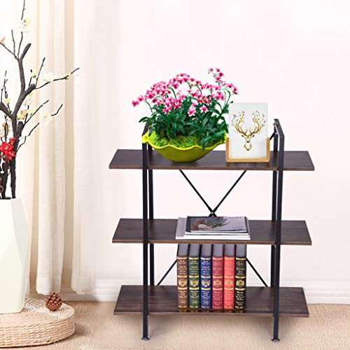 liliDECOR Corner Bookshelf, Vintage Criss Cross 3 Tier Metal Frame Large Rustic Bookcase Display Organizer Decor for Home Industry Office Open Shelf Freestanding Easy to Assembly