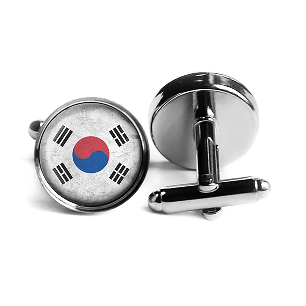South Max 71% Free shipping on posting reviews OFF Korea Korean Flag Silver Rhodium Cufflinks Plated