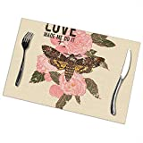 Set di 4 tovagliette per tavolo da pranzo, con scritta Love Made Me Do It, motivo: farfalla con rosa e roccia e rotolo da 30,5 x 45,7 cm