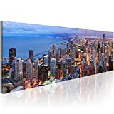 artgeist Canvas Wall Art Print City Chicago 120x40 cm / 47.2'x15.7' 1 pcs Home Decor Framed Stretched Picture Photo Painting Artwork Image Skyline 9020121
