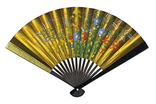 Samurai market Japonés Tradicional Mano Ventilador de Papel de Oro–Caja Decorativa de Soporte y 15cm