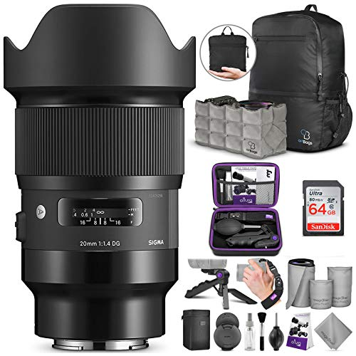 Sigma 20mm f/1.4 DG HSM Art Lens for Sony E Mount Cameras with Altura Photo Advanced Accessory and Travel Bundle
