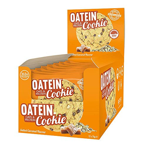 Oatein Cookie (12 x 75g) – High Protein Cookie Bar With Oats Complex Carbohydrate Healthy High Fibre Vegetarian Snack Cookies – Salted Caramel