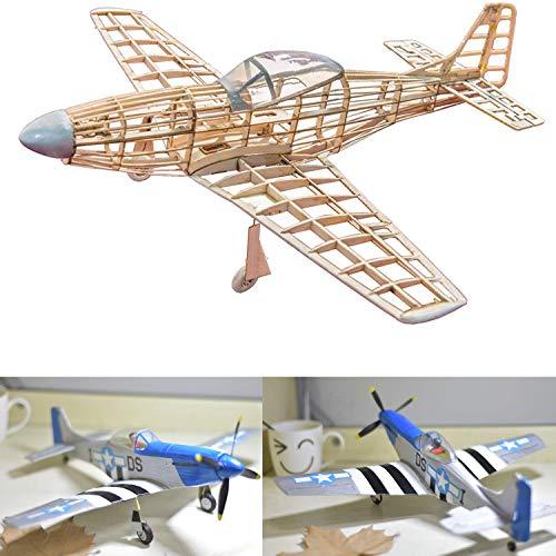 P-51 D Mustang Slow Flyer KIT, 400 mm Spannweite, Maßstab 1/30, Modellflugzeug zum selber Bauen, Balsa Holz Bausatz, RC Modell Baukasten, 332 x 400 x 122 mm groß, Lasercut, 47,5 g Fluggewicht