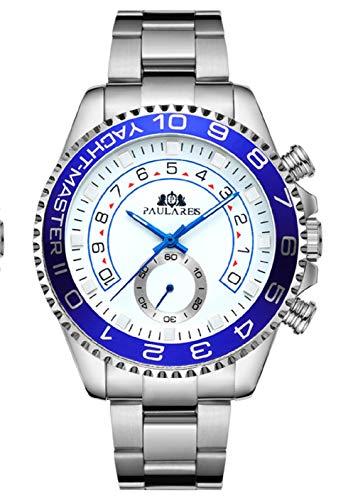 Road Warrior Paulareis Yacht Master - Reloj de Pulsera para Hombre con Bisel Giratorio de Cristal de Zafiro y Correa de Acero Inoxidable, Movimiento automático, 44 mm
