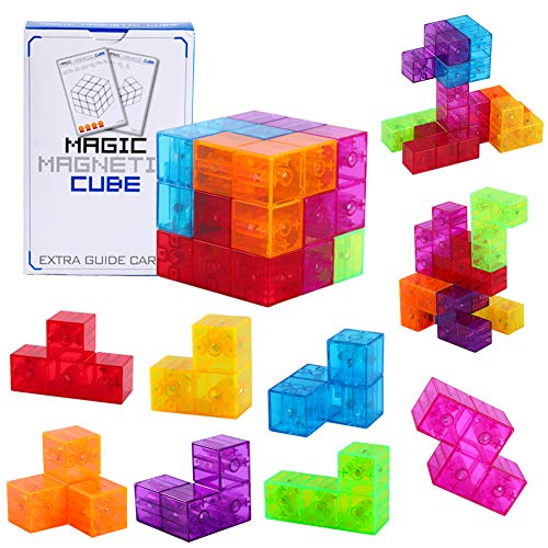 3D Magnetic Building Blocks with 54 Guide Cards, 108Challenge Multi Shapes Magnetic Blocks Infinity Puzzle Cubes for Early Education, Intelligence Developing, Stress Relief (Transparent Color)