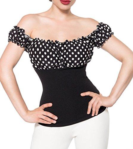 Schwarze schulterfreie Bluse aus Jersey mit kurzen Ärmeln und Carmenausschnitt weiß gepunktet Retro-Top mit Raffung XXXL