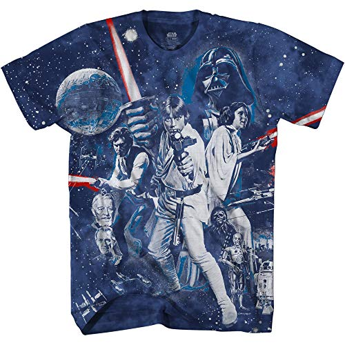 War of Wars Darth Vader Luke Skywalker Glow Dark Adult Tee Graphic T-Shirt for Men Tshirt (Navy Wash Tie Dye, XX-Large)