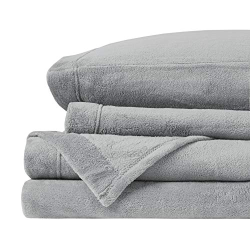 True North by Sleep Philosophy BL20-0869 Soloft Plush, Wrinkle Resistant, Warm, Soft Fleece Sheets with 14' Deep Pocket Cold Season Cozy Bedding-Set, Matching Pillow Case, Twin, Grey