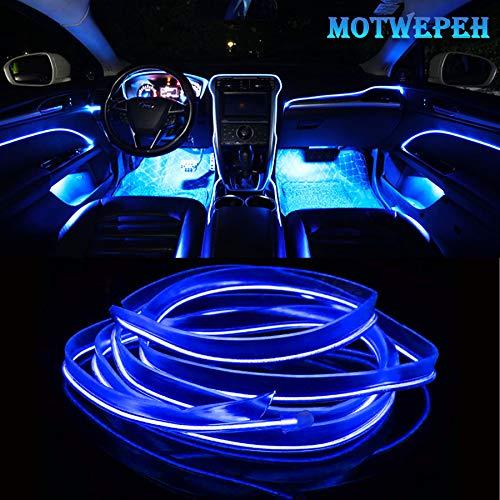 Eulifeled Luces LED USB de 10 m / 32 pies flexibles, tubo flexible de luz USB, neón, alambre luminoso, decoración del coche, tira de fibra de vidrio, iluminación de 360 grados (azul hielo)