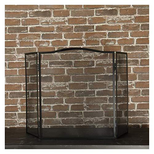 Pantalla Chimenea Chimenea chispa Protección 3 Panel de pantalla chimenea decorativa de malla, plegable Hierro forjado Spark Valla Guardia Prueba bebé seguro, for estufa de leña / gas / fuego