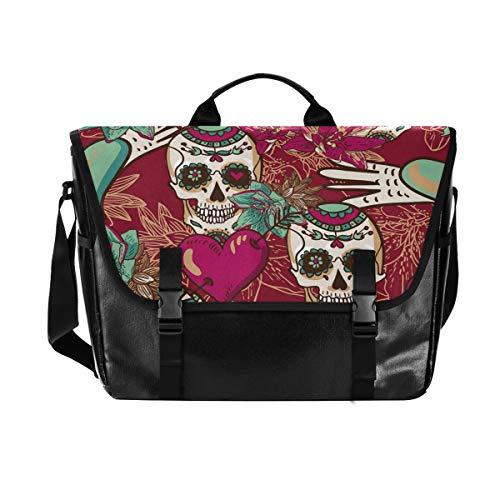 Reisen Camping Herzen Rosen Mexican Sugar Skull Laptop Computer Umhängetasche Casual Canvas Satchel für Männer Frauen Student Lake Messenger Bag