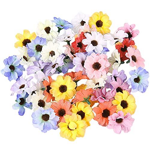 Zasvec Fleurs Artificielles 100 Pièces Paquerettes Artificielles 4cm Fleur Artificielle Deco Maison Fausse Fleur Decoration Marguerite Artificielle Multicolore pour Mariage Fête...