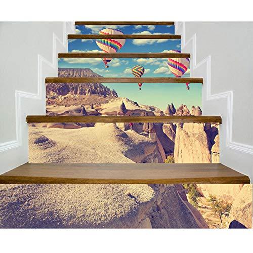 LUOGEGEBB Trappen Stickers Creatieve 3D Zelfklevende Bloem Ballonnen Grand Canyon Muurstickers Waterdicht Anti-lip Verwijderbare Home Decoratie-6 Tabletten