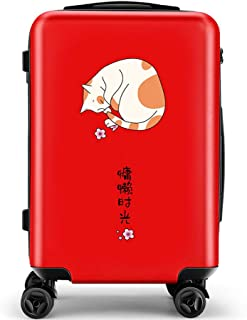 YCYHMY Lightweight ABS Hard Case 4 Wheels Portable Password Box Trolley Case Travel Suitcase Handbag Red 24 Inch