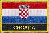1000 Flags Aufnäher mit Kroatien-Flagge, bestickt, rechteckig, zum Aufnähen oder Aufbügeln