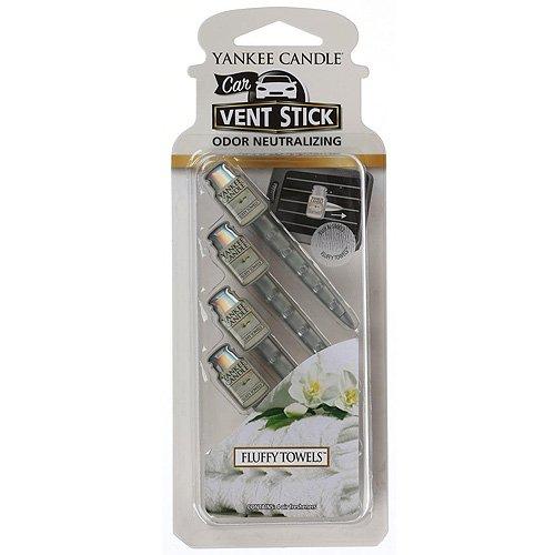Yankee Candle ambientador para coche en barra para las rejillas de ventilación, Toallas suaves, blanco, paquete de 4