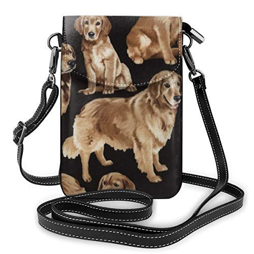 XCNGG bolso del teléfono Fashion Crossbody Cell Phone Purse - Golden Retrievers - Women PU Leather smart phone Shoulder Pouch Handbag with Adjustable Strap