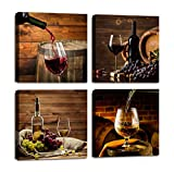 wall art for kitchen - Red Wine Cups HD Modern 4 Panels Framed Wall Art Abstract Giclee Canvas Prints Artwork Contemporary Vintage Pictures Paintings on Canvas Wall Art for Kitchen Home Decorations