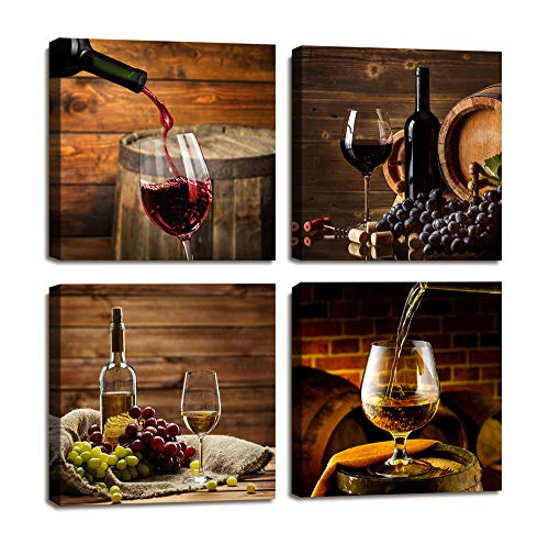 Red Wine Cups HD Modern 4 Panels Framed Wall Art Abstract Giclee Canvas Prints Artwork Contemporary Vintage Pictures Paintings on Canvas Wall Art for Kitchen Home Decorations