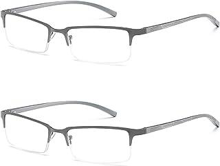 Fulision Half-rimmed glasses Fashion metal frame 2 pack men and women reading glasses metal spring hinge elastic legs brac...