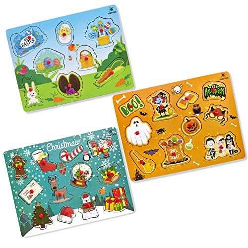 Gleeporte Easter Wooden Peg Puzzles, Holiday Theme | Pack of 3 Learning Educational Pegged Puzzle Boards for Toddler & Kids | Ideal Gift Easter