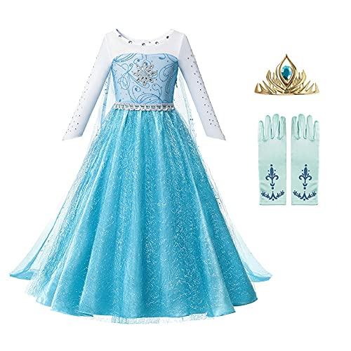 OPYTR Bottles for Lotion Vestido de niñas Princesa Cumpleaños Cosplay Malla de Malla Vestidos de Cristal Halloween Vestido de Navidad Disfraz Chal ( Color : Elsa Dress 3 , Size : 3T )