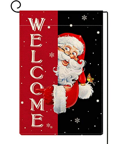 ORTIGIA Welcome Santa Claus Garden Flag Burlap Vertical Double Sided Christmas Yard Flag Farmhouse Funny Xmas Winter Holiday Small Flag Lawn Indoor Outdoor Home Decoration 12.5 x 18inch
