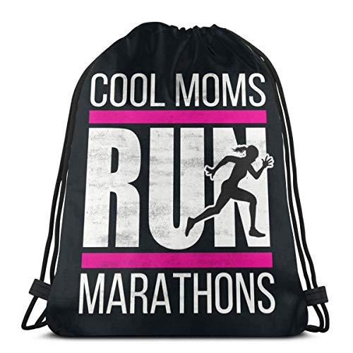 Cool Moms Run Marathonr Zaino con coulisse Sport Bag per uomini e donne Scuola Viaggio Zaino 36x42 CM