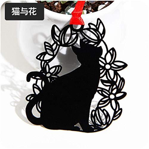 Gatto e fiore verniciati neri segnalibro-C189 del gatto