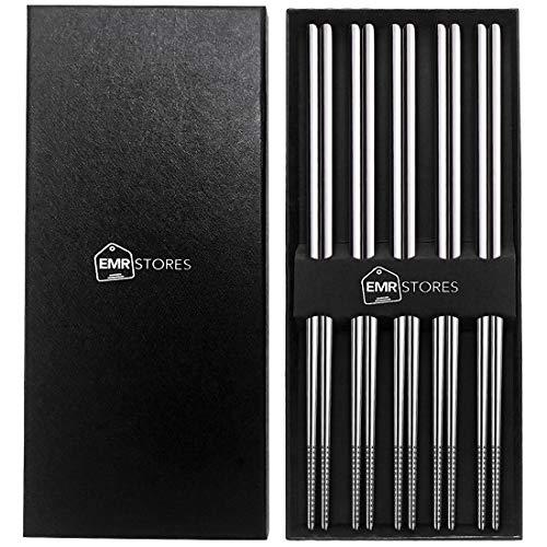EMRSTORES Stainless Steel Chopsticks - Chopsticks Reusable Dishwasher Safe -10 Pairs Metal Chopsticks Set - Easy to Hold - Silver Lightweight Chop Sticks