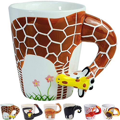 3D Coffee Mug Funny Animal Porcelain 13.5 Oz Tea Cup. Hi, I am a giraffe with long neck and legs Suitable for Christmas present Gift Best Papa Ever Birthday Gift