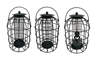 Truoli® Set of 3 x Squirrel Guard Hanging Wild Bird Feeders for Fat Balls, Nuts & Seeds with Adjustable Ties from Nature's Market