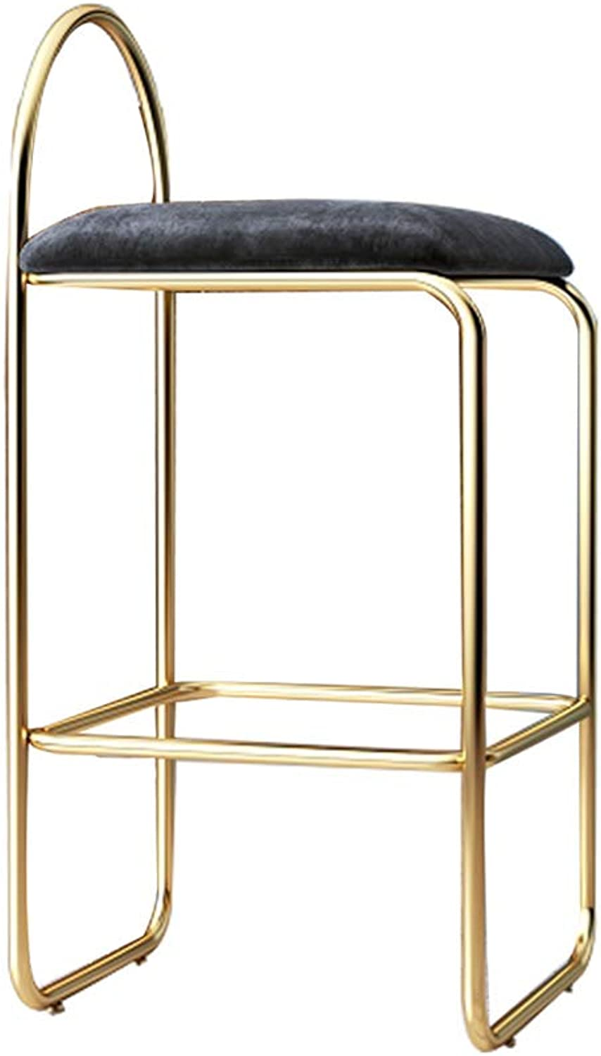 Gsej-Barstools Simple High Stool Modern Breakfast Chair, Comfortable Velvet Cushion, Load Capacity 150kg, Suitable for Kitchen, Dining Room, Black, Multi-Size Optional